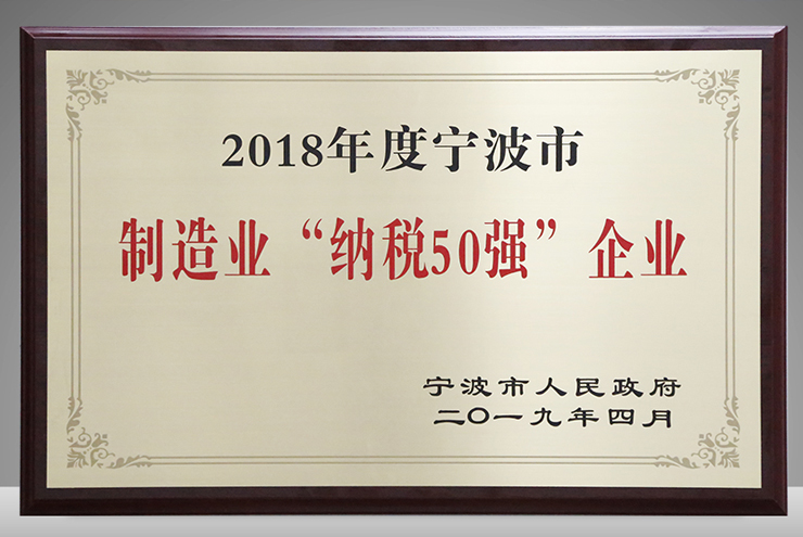 Deli won the 8th place in Ningbo tax payment